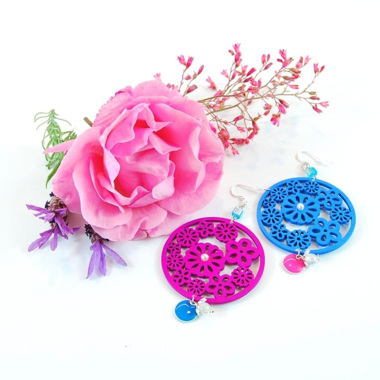 Orecchini Shabby Drops Blue & Pink
