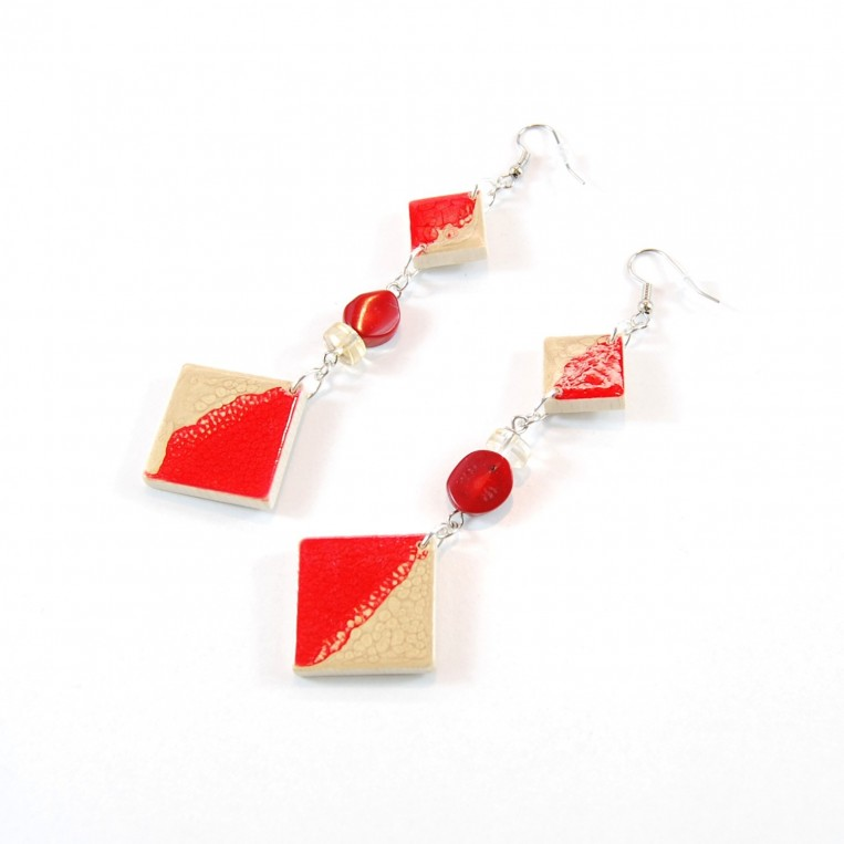 Orecchini Wood Gold and Red