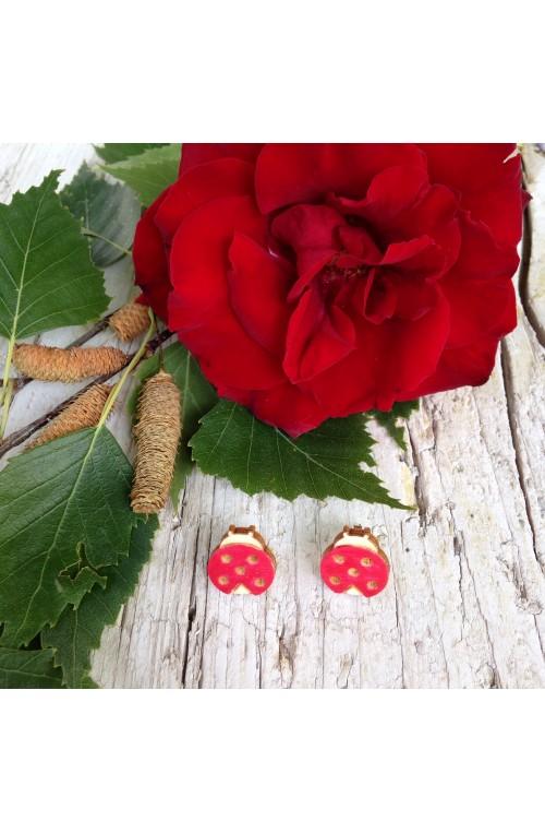 Orecchini Coccinella di Legno