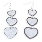 Orecchini Cuori Diamond Silver