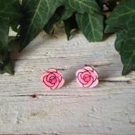 Orecchini Rosa Inglese di Legno