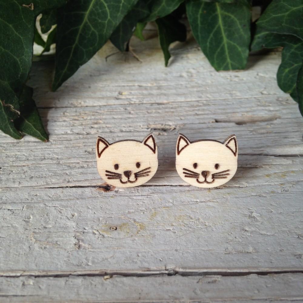 Orecchini Gatto Personalizzato di Legno