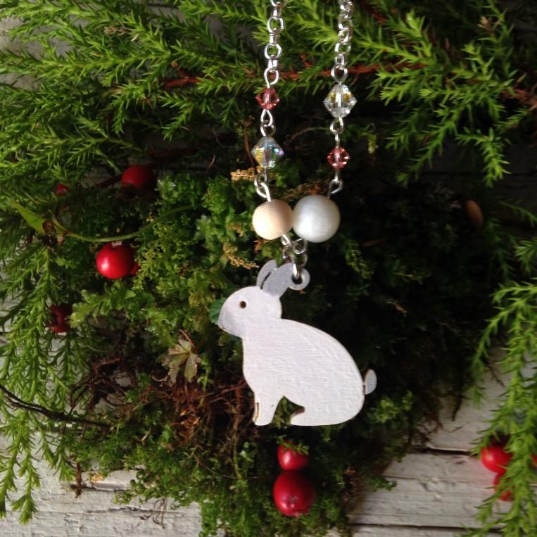 Collana Coniglio di Legno con Swarovski e Pietra della Luna