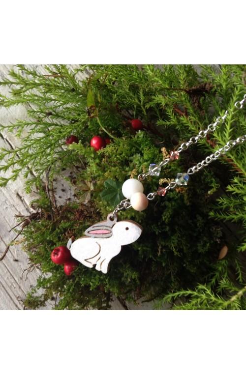 Collana Coniglio a Testa in Su di Legno con Swarovski e Pietra della Luna