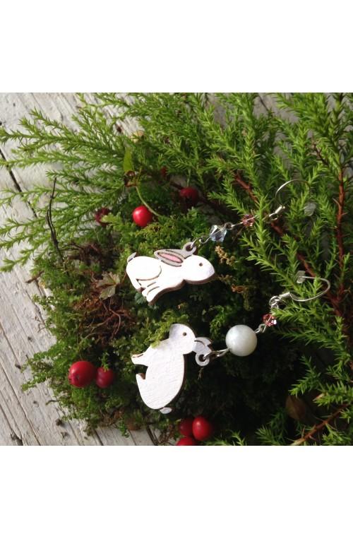 Orecchini Conigli di Legno con Swarovski e Pietra della Luna