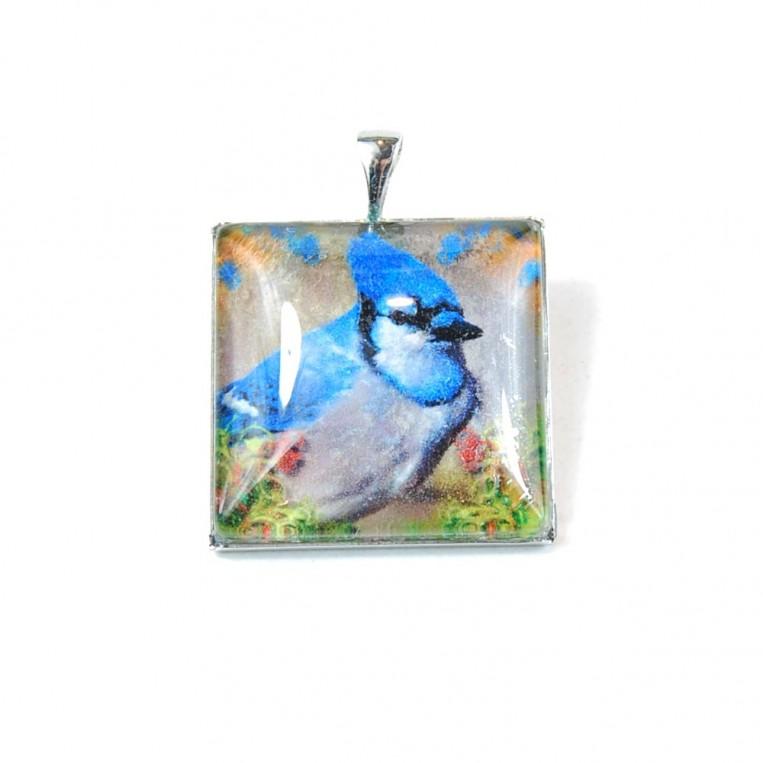 Ciondolo Uccellino Cresta Blu