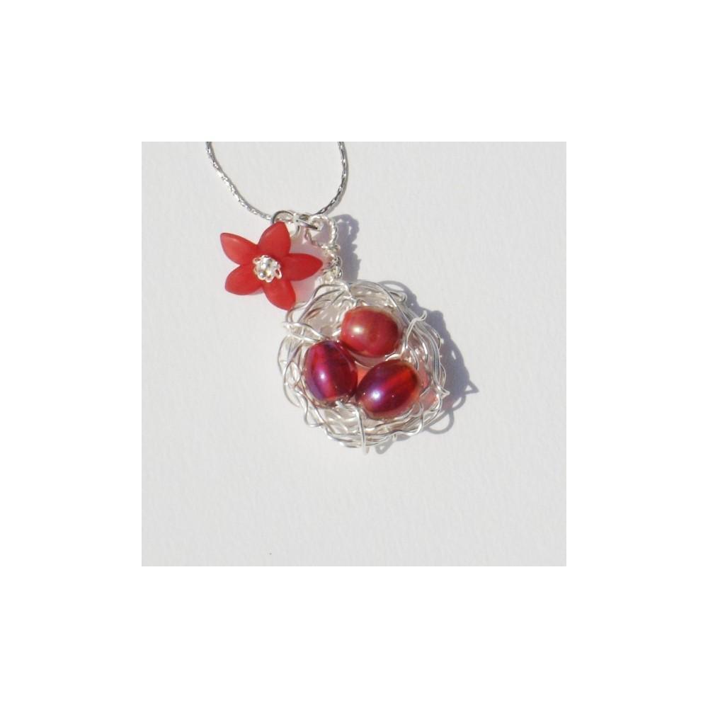 Collana Bird's Nest Rossa