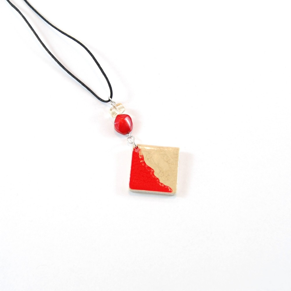 Collana Wood Gold and Red